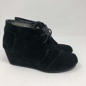 TOMS Booties Suede Wedge Ankle Shoes 10W (#008